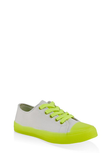 Neon Detail Lace Up Sneakers,WHITE,large