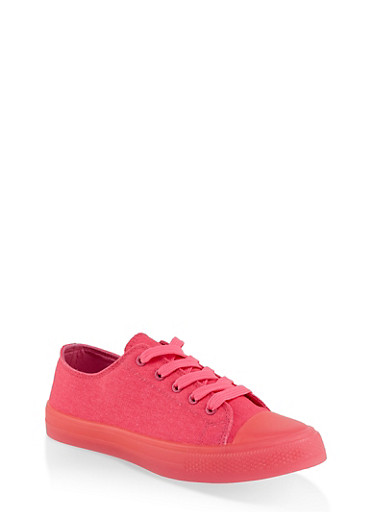 Solid Neon Lace Up Sneakers,NEON PINK,large