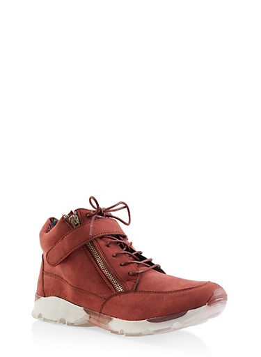 Velcro Lace Up High Top Sneakers,WINE,large