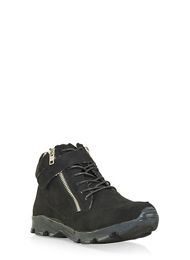 Velcro Lace Up High Top Sneakers,BLACK SUEDE,large