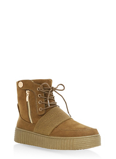 High Top Lace Up Creeper Sneakers | Tuggl