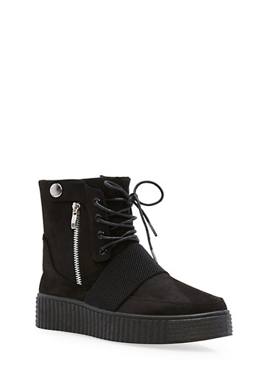 High Top Lace Up Creeper Sneakers,BLACK F/S,large