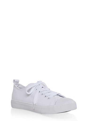 Lace Up Canvas Sneakers,WHITE,large