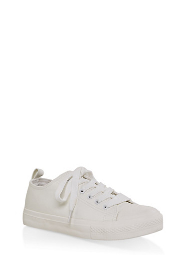 Lace Up Faux Leather Sneakers,WHITE,large