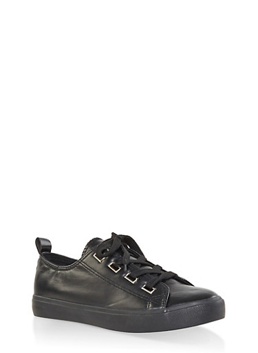Faux Leather Lace Up Sneakers | 1114062123779,BLACK,large