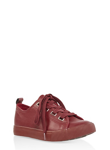 Faux Leather Lace Up Sneakers | 1114062123779,WINE,large