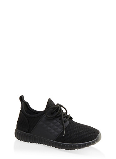 Knit Athletic Lace Up Sneakers,BLACK,large