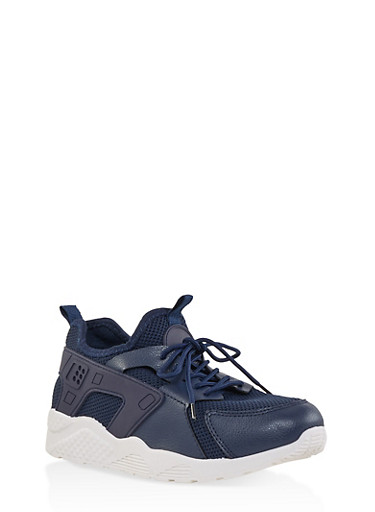 Athletic Lace Up Sneakers,NAVY,large