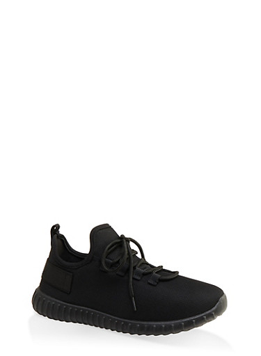 Mesh Lace Up Athletic Sneakers,BLACK,large
