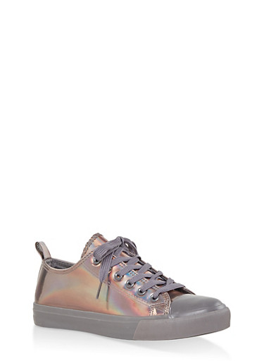 Iridescent Lace Up Sneakers,GRAY,large