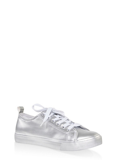 Metallic Lace Up Sneakers,SILVER,large