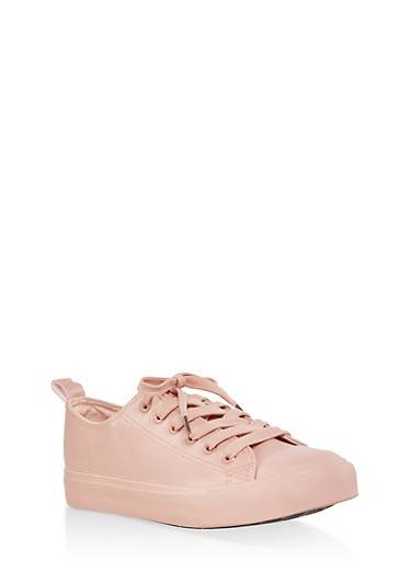Lace Up Faux Leather Sneakers,MAUVE,large