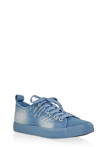 Frayed Denim Lace Up Sneakers,DENIM,large