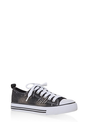 Ripped Canvas Sneakers,BLACK,large