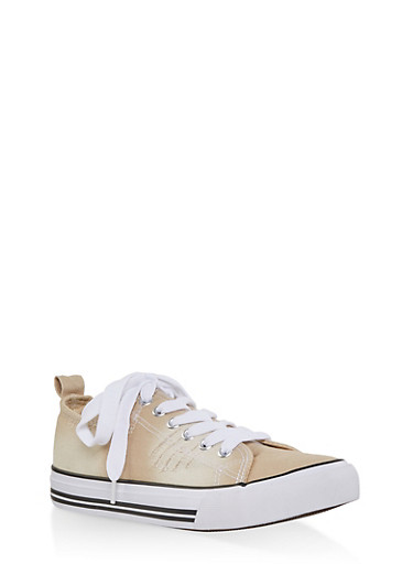 Ripped Canvas Sneakers,NATURAL,large