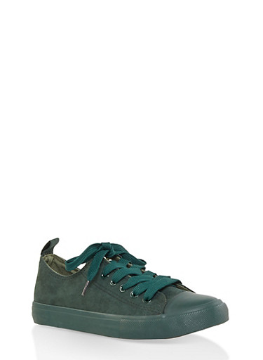 Cap Toe Lace Up Sneakers,GREEN,large