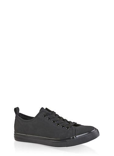 Lace Up Tennis Sneakers,BLACK,large