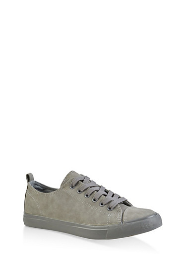 Lace Up Tennis Sneakers,GRAY,large