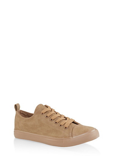 Lace Up Tennis Sneakers,TAN,large