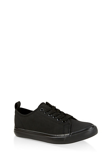 Canvas Lace Up Tennis Sneakers,BLACK,large