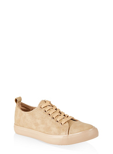 Canvas Lace Up Tennis Sneakers,TAN,large