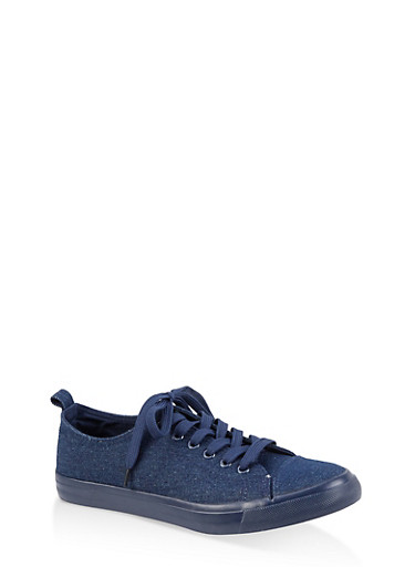 Lace Up Tennis Sneakers | 1114062720303,DENIM,large