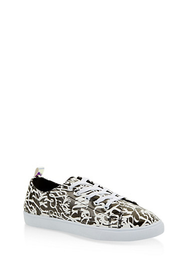 Printed Lace Up Sneakers,BLACK,large