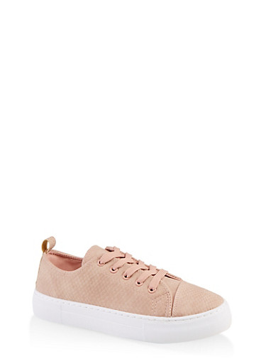Animal Embossed Lace Up Sneakers,BLUSH,large