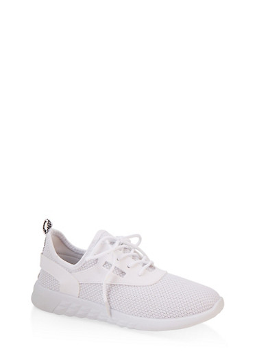 Knit Lace Up Athletic Sneakers,WHITE,large