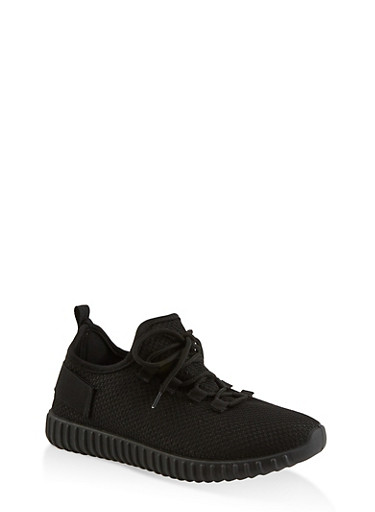 Textured Knit Athletic Sneakers,BLACK,large