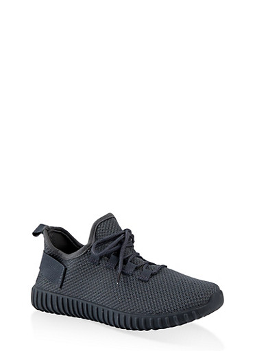 Textured Knit Athletic Sneakers,GRAY,large