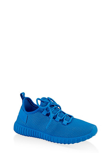Lace Up Knit Athletic Sneakers,ELECTRIC BLUE,large