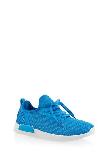 Knit Lace Up Sneakers,BLUE,large