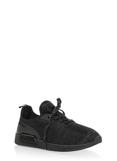 Shimmer Knit Lace Up Sneakers,BLACK,large