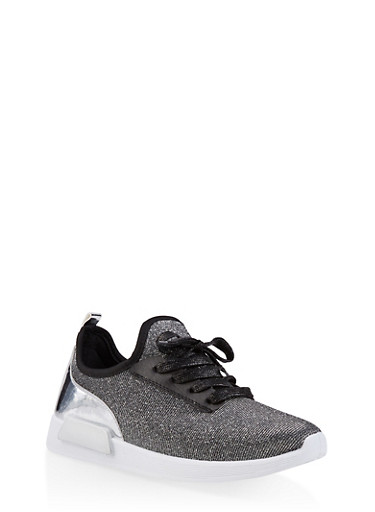 Shimmer Knit Lace Up Sneakers,SILVER,large