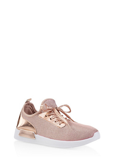 Shimmer Knit Lace Up Sneakers,ROSE,large