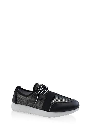 Fishnet Platform Sneakers,BLACK,large