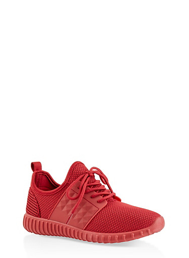 Knit Lace Up Silicone Detail Sneakers,RED,large