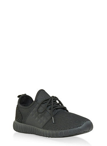 Textured Knit Sneakers,BLACK,large