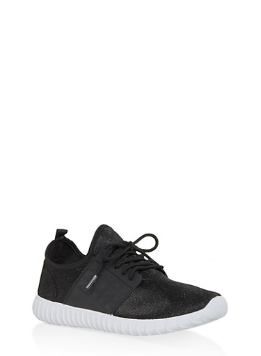 Knit Lace Up Sneakers | 1114062723534,BLACK/WHITE,large