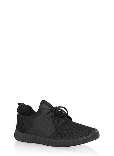 Lace Up Knit Sneakers,BLACK,large