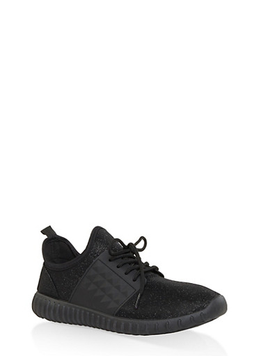 Glitter Knit Lace Up Sneakers,BLACK,large