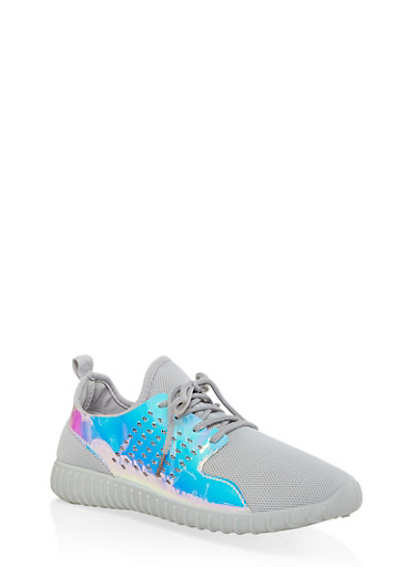 Laser Cut Athletic Sneakers,GRAY,large