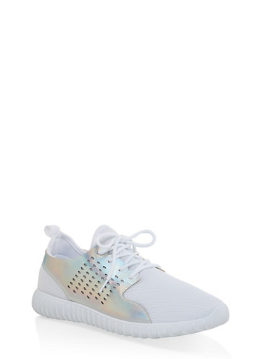 Laser Cut Athletic Sneakers,WHITE,large