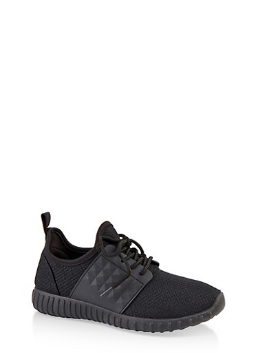 Textured Knit Lace Up Athletic Sneakers,BLACK,large