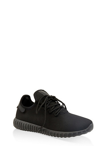 Knit Lace Up Sneakers | 1114062723541,BLACK,large