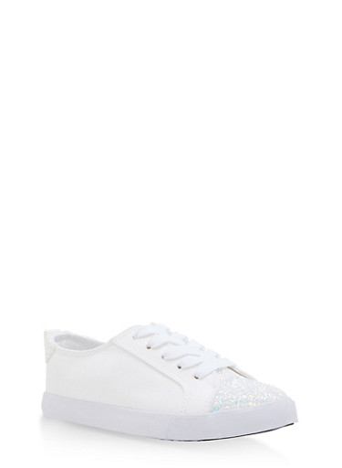 Lace Up Canvas Sneakers with Glitter Detail,WHITE,large