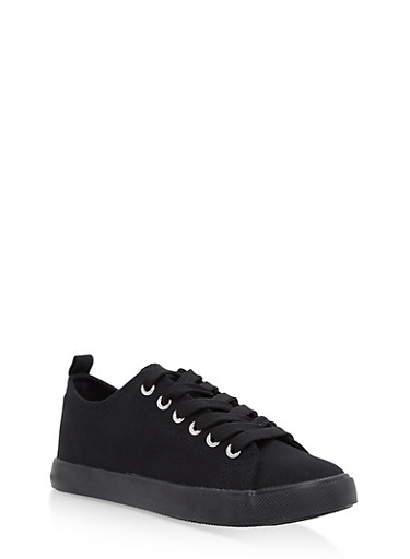 Lace Up Canvas Sneakers,BLACK/BLACK,large