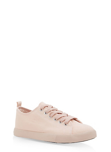 Lace Up Canvas Sneakers - BLUSH/BLUSH - 1114062725501