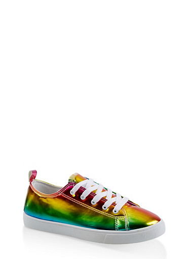 Holographic Lace Up Sneakers,MULTI COLOR,large